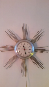 Mid-century sunburst wall clock