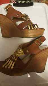 Almost new strap wedge heels - size 8