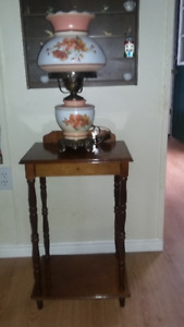 Antique lamp with table. home deco.