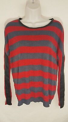 Romeo + Juliet Couture Striped Sweater Shirt Faux Leather Assent Womens M
