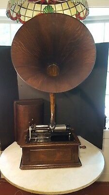 Antique Edison Triumph Cylinder Phonograph Wood Oak Horn - Plays, Is A Project