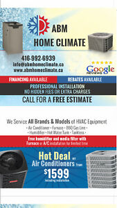 Air conditioner (Hot deal $1599) &  Furnace installation
