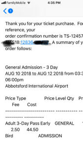 one 3 day pass with parking Abbotsford international airshow.