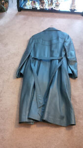 Teal long leather coat London Ontario image 2
