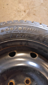 205/55/R16 Goodyear Nordic Winter tire set on steel rims