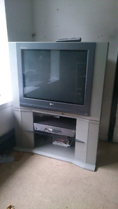 """27"""" TV with stand and DVD player"""