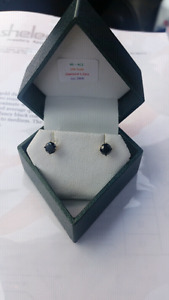 1.22 ct black diamond stud 14k yellow gold stud earrings
