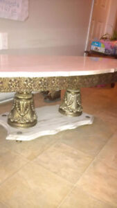 Real marble tables hand crafted brass..$260.