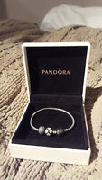 BRAND NEW Silver Pandora Bracelet with two charms