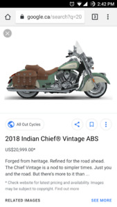 BRAND NEW 2018 Indian chief vintage (green) 111 thunderstroke