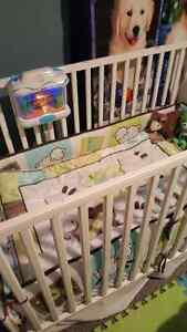 Infant crib + crib mattress and essentials