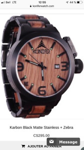 Montre Konifer carbon/bois