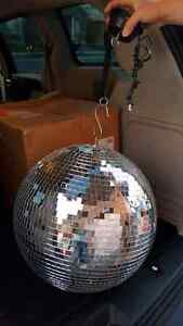 Huge Disco Ball, includes spinning motor and all gear, new condi