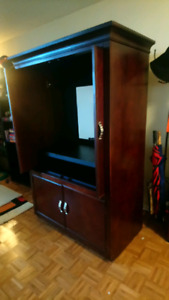 Large hardwood tv hutch entertainment stand. OBO