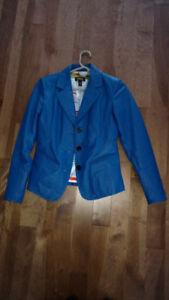 Veston, veste, jacket en cuir bleu cobalt - Grandeur S