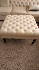Tufted ottoman with studs $250 charcoal / cream