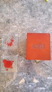 Set of 6 Dexter blood splatter slide coasters