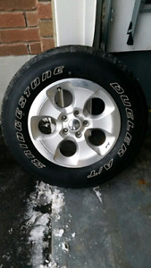 Set of 5 jeep wrangler rims and tires
