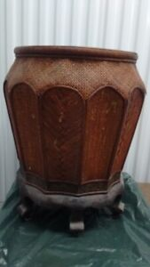 Vintage Chinese Bamboo Flower Pot with Stand,64 CM Tall