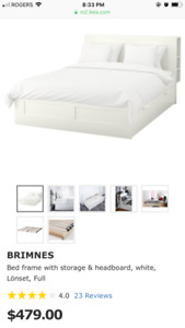 IKEA Brimnes Double Bed (Including Headboard and Mattress)
