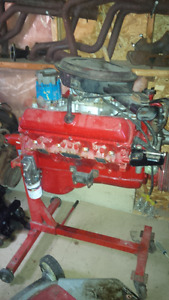 Engine Hoist, 2 Olds 350s on stands, headers, manifolds and misc
