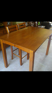 Solid wood dining pub table