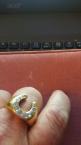 Mens Gold and Diamond Horse shoe Ring