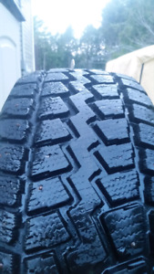 Studded winter tires on steel rim