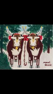 Original Maud Lewis Pair of Oxen