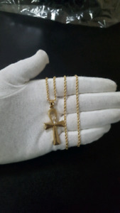 10K Gold Ankh + 10K Gold Rope Chain 2.5mm 22""