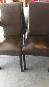 Set of 6 faux leather brown dining chairs