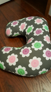 Grey floral breastfeeding pillow