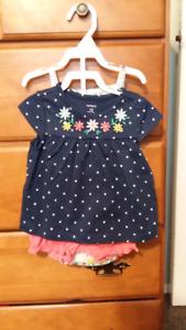 Carters girls 3 piece summer outfit.