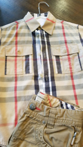 Boys Authentic Burberry Dress shirt and pants size 6