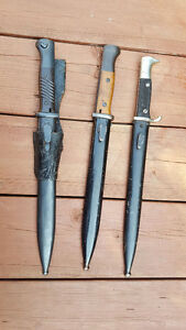 3 WWII K98 German Bayonets for sale: