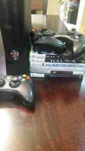 Xbox 360 + 2 controllers + cables + 6 games