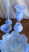 5 pce blue/white frosted decor set