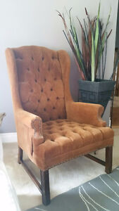 Brown wing back chair/ottoman