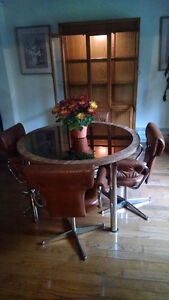 Antique Dining Room Table And Captain Chairs And Hutch For Sale