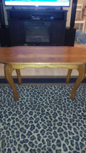 hard wood coffee table two end tables