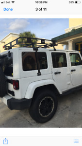 Jeep wrangler roof rack with basket.