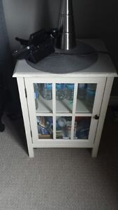 TWO GLASS FRONT SIDE TABLES