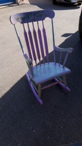 BEAUTIFULLY PAINTED ROCKING CHAIR FOLK ART