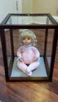"""""""Sugar Plum"""" Collector's Porcelain Doll with wood display case"""