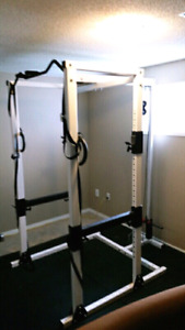 High end power rack squat cage with lat low row cable system