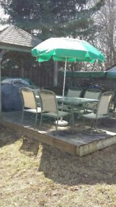 patio furniture and swing set