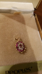 Gold-  ruby and diamond pendant