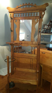 Antique Wooden Hall Stand with Mirror