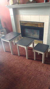 Nesting tables 3 refurbished excellent shape black and silver