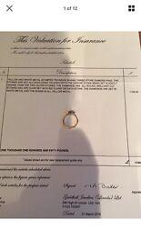 Three stone diamond ring, yellow and white gold 18ct